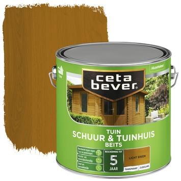 Cetabever tuinbeits schuur & tuinhuis transparant licht eiken zijdeglans 2,5 l