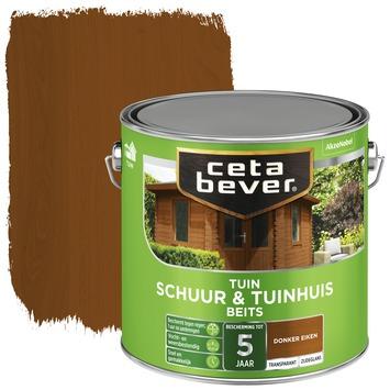 Cetabever tuinbeits schuur & tuinhuis transparant donker eiken zijdeglans 2,5 l