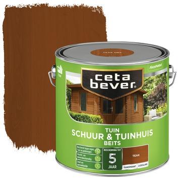 Cetabever tuinbeits schuur & tuinhuis transparant teak zijdeglans 2,5 l