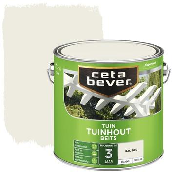 Cetabever tuinhoutbeits transparant RAL 9010 gebroken wit zijdeglans 2,5 l