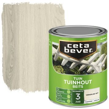 Cetabever tuinhoutbeits transparant vergrijsd wit zijdeglans 750 ml