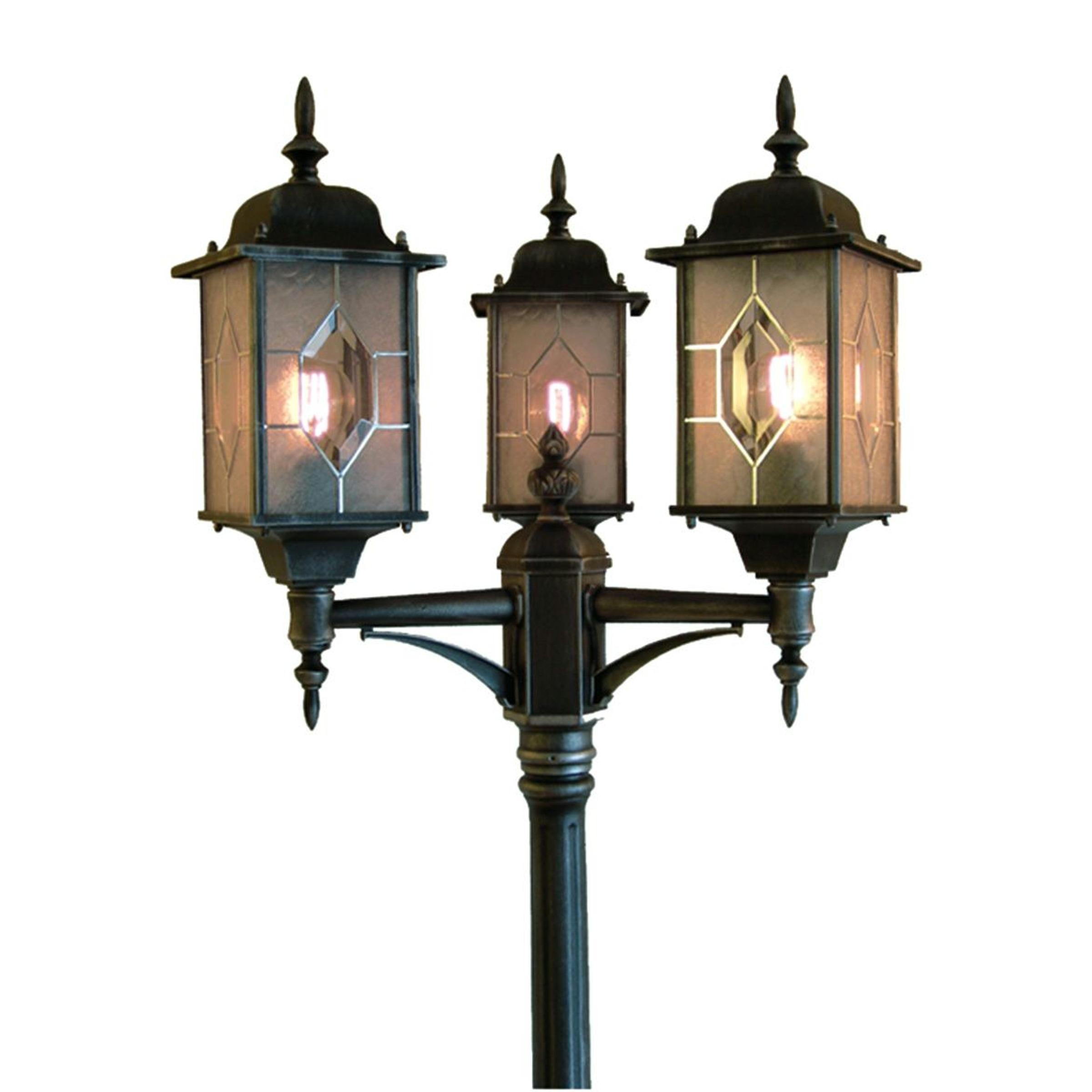 3-lichts buitenlantaarn MILANO in zwart en zilver