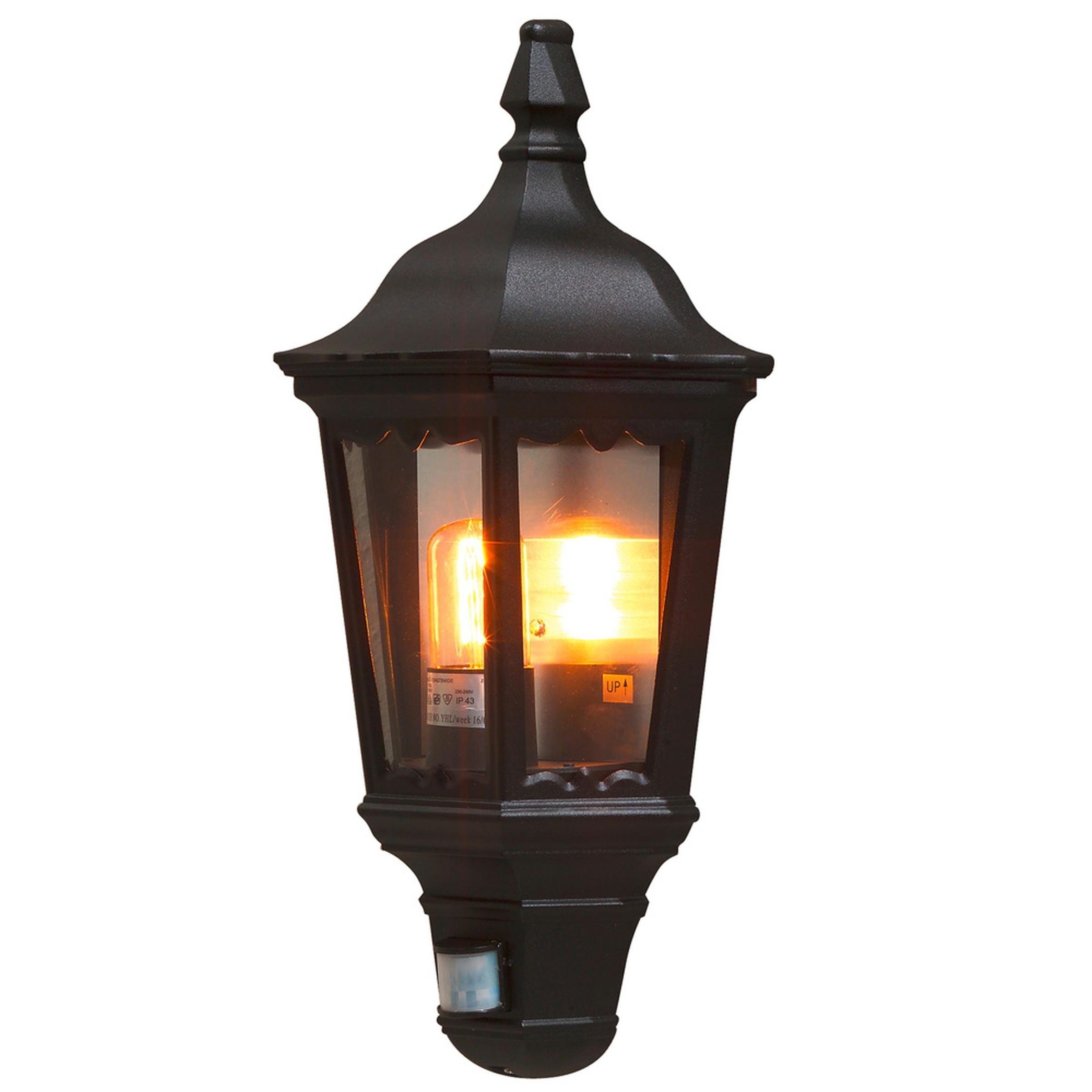 Buitenwandlamp FIRENZE met bewegingsmelder, zwart