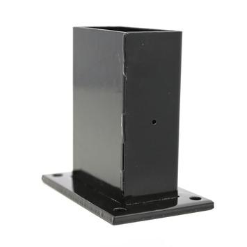 Voet voor rechthoekige paal zwart 60/120 mm