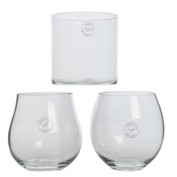 Vaas glas mondgeblazen cognac vorm-cylinder vorm-bal vorm 14x14x14 cm