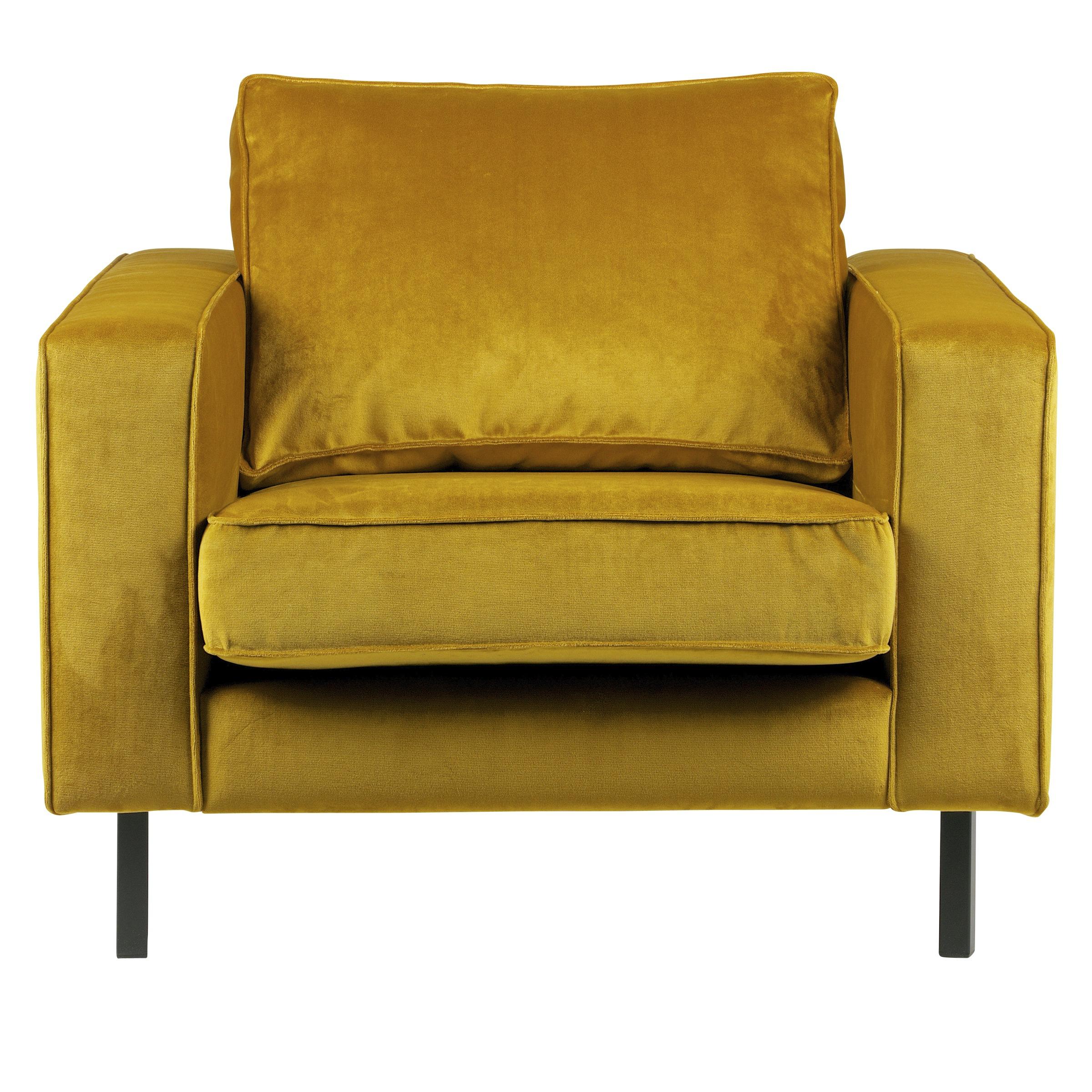 WOOOD fauteuil Robin fluweel gestoffeerd okergeel