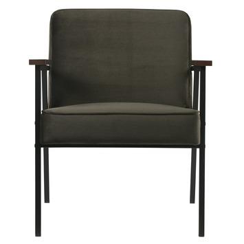 Woood fauteuil Vicky fluweel warmgroen