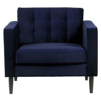 Woood fauteuil Livia gecapitoneerd fluweel nachtblauw