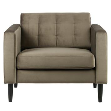 Woood fauteuil Livia fluweel olijfgoud