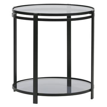 Bijzettafel In Glas.Bijzettafel Nero Metaal Met Glas Zwart O50cm Kopen Bijzettafels