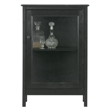 Vitrinekastje Pablo hout met glas zwart 89,5x60x36,5cm