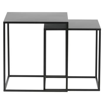 Bijzettafel Zwart Vierkant.Woood Bijzettafel Ziva Metaal Zwart Set Van 2 Kopen Bijzettafels