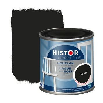 Histor Perfect Finish houtlak hoogglans RAL 9005 zwart 250 ml