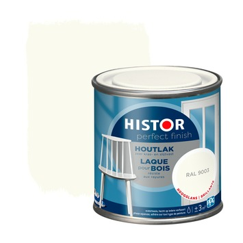 Histor Perfect Finish houtlak hoogglans RAL 9003 250 ml