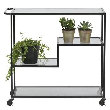 Woood trolley Leona metaal/rookglas zwart 80,5x86x35cm