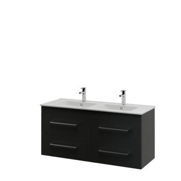 Bruynzeel Optima badkamermeubel set 120cm zwart met vierkante greep