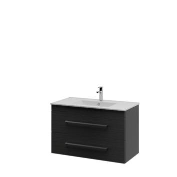 Bruynzeel Optima badkamermeubel set 90cm hacienda zwart met vierkante greep