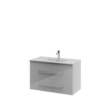 Bruynzeel Optima badkamermeubel set 90cm hoogglans wit met vierkante greep