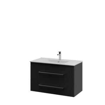 Bruynzeel Optima badkamermeubel set 90cm zwart met vierkante greep