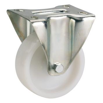 Bokwiel PP met plaatbevestiging Ø 100 mm max. 150 kg wit