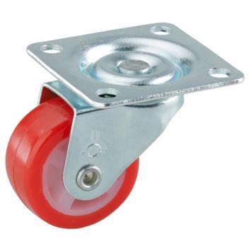Zwenkwiel PUR met plaatbevestiging Ø 30 mm max. 20 kg rood