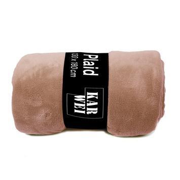 Plaid fleece poederroze 130x180