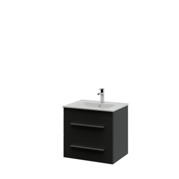 Bruynzeel Optima badkamermeubel set 60cm zwart met profielgreep