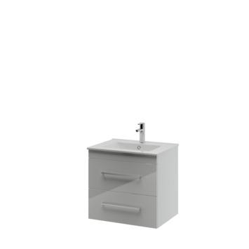 Bruynzeel Optima badkamermeubel set 60cm hoogglans wit met vierkante greep