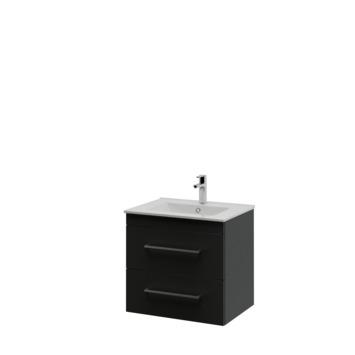Bruynzeel Optima badkamermeubel set 60cm zwart met vierkante greep