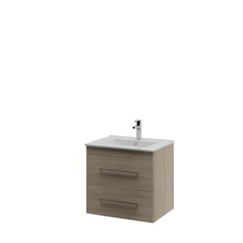 Bruynzeel Optima badkamermeubel set 60cm grijs eiken met vierkante greep