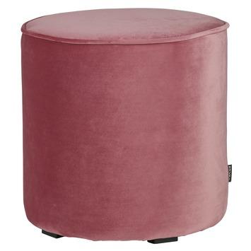 WOOOD poef Sara roze fluweel hoog (hxØ) 46x46 cm