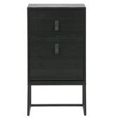 Woood nachtkaste Zola lade+deurtje zwart (hxbxd) 74x40x35 cm