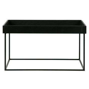 WOOOD bijzettafel Dexter XL met afneembaar tafelblad hout/metaal zwart 35x65x65 cm