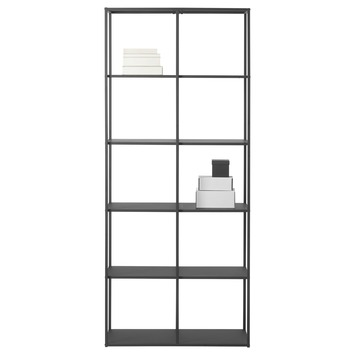 Zwarte Stellingkast Metaal.Vakkenkast Giel Metaal Zwart 200x85x35 Cm