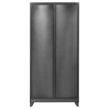 Lockerkast Jax hoog metaal vergrijsd zwart 190x90x50 cm