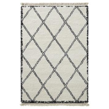 Varamin Vloerkleed Wit/Zwart Grote Ruit 35 mm 160x230 cm