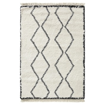 Varamin Vloerkleed Wit/Zwart Zigzag 35 mm 160x230 cm