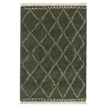 Vloerkleed Varamin Donkergroen/wit  met franjes 160x230 cm