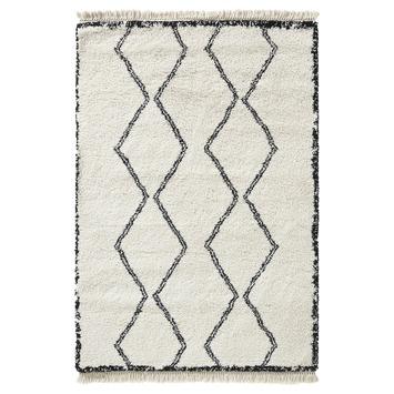 Varamin Vloerkleed Wit/Zwart Zigzag 35 mm 200x290 cm