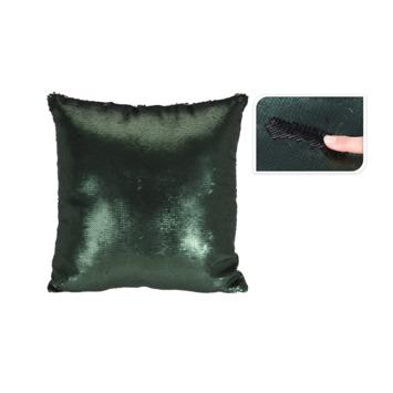 Kussen pailletten groen/zwart 45x45 cm