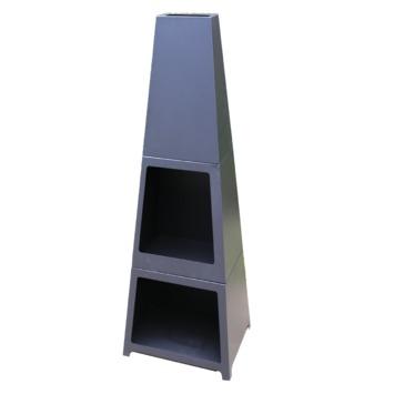 Sfeerhaard Rechthoekig metaal zwart 120x46x36 cm