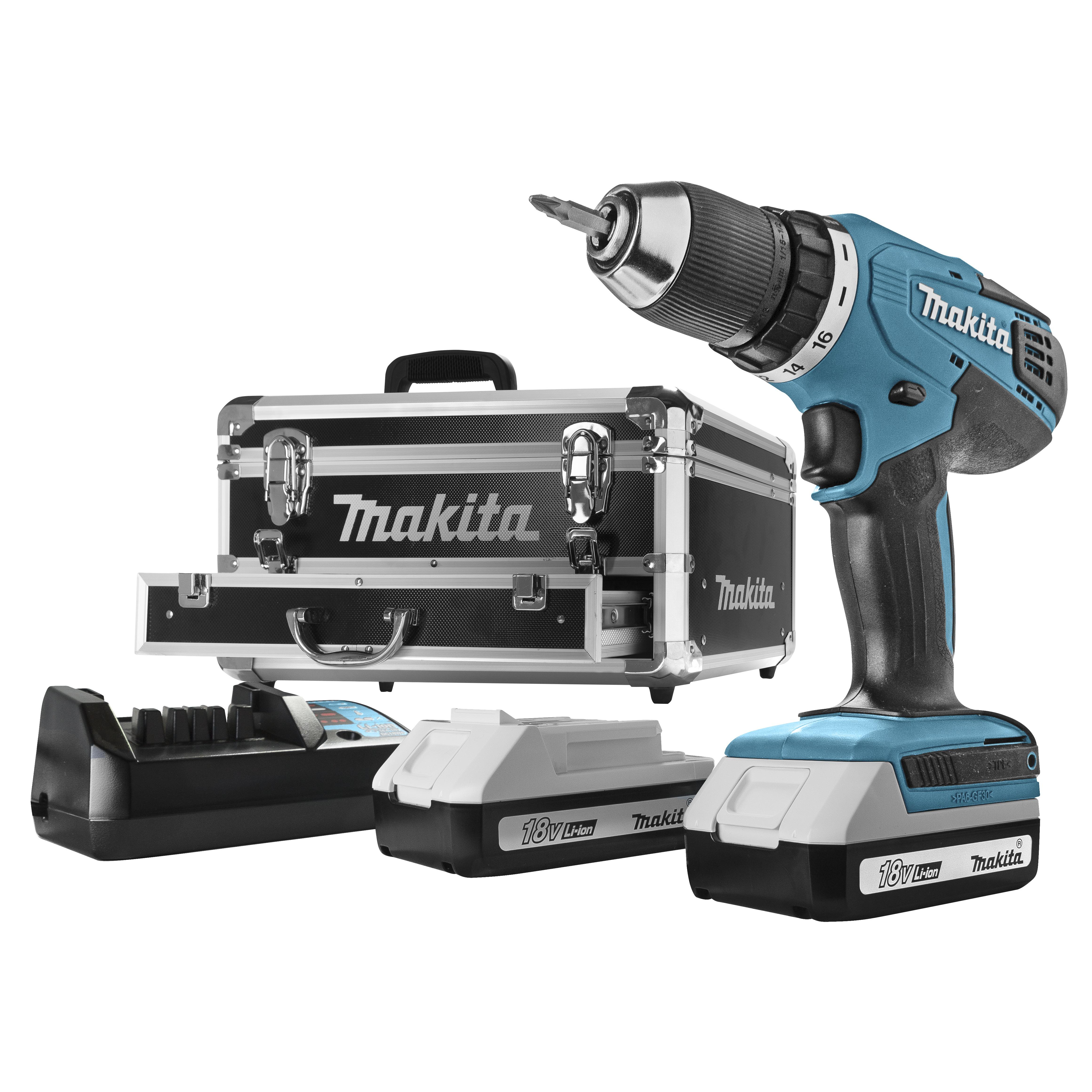 Makita accu boormachine DF457DWEX2 + 70-delige accessoireset