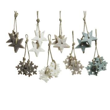Zeep figuur jute hanger ster/sneeuwvlok. Per stuk