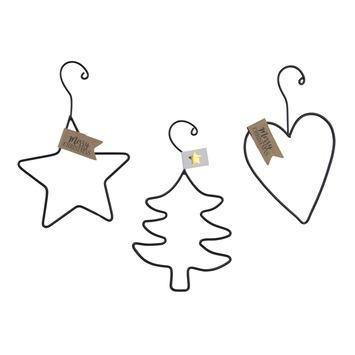 Ornament hang zwart draadstaal ster/hart/boom. Per stuk