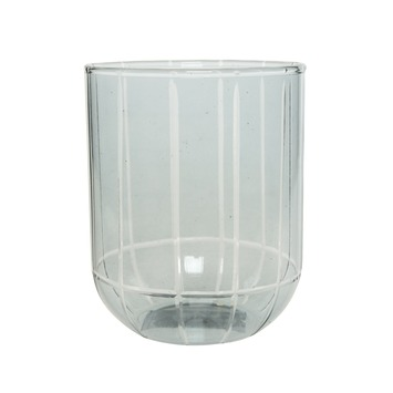 Theelicht glas snijwerk blauw Ø 8 cm