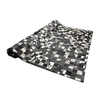 Koeienhuid Vloerkleed Zwart/Grijs Geblokt 10 mm 120x180 cm