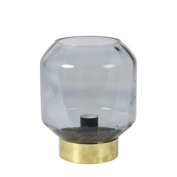 Tafellamp Elin rookglas met messing voet
