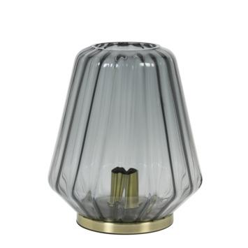 Tafellamp Olan rookglas met messing voet