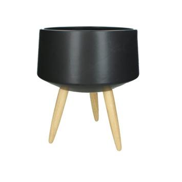 Pot Lane keramiek/hout zwart 36x30x30 cm