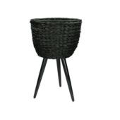 Pot Rox keramiek/hout zwart 52x30x30 cm